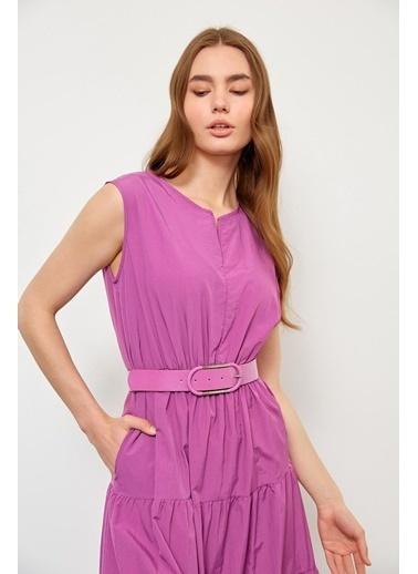 Setre Marina Mavisi Beli Büzgülü Midi Elbise Lila